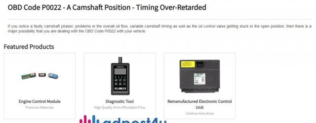 Parts Avatar Provides You Solution Of OBD Code P0022.